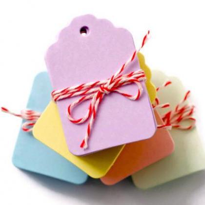 100 Pastel Color Mini Hanging Tags ..