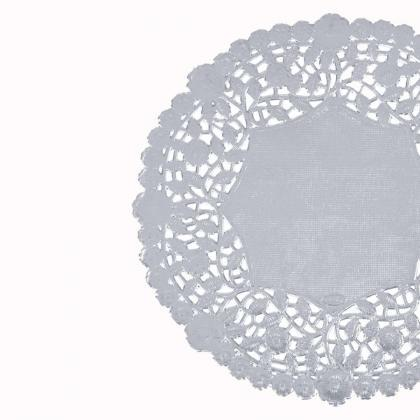 50ct - 12 inch SILVER Paper Lace Do..