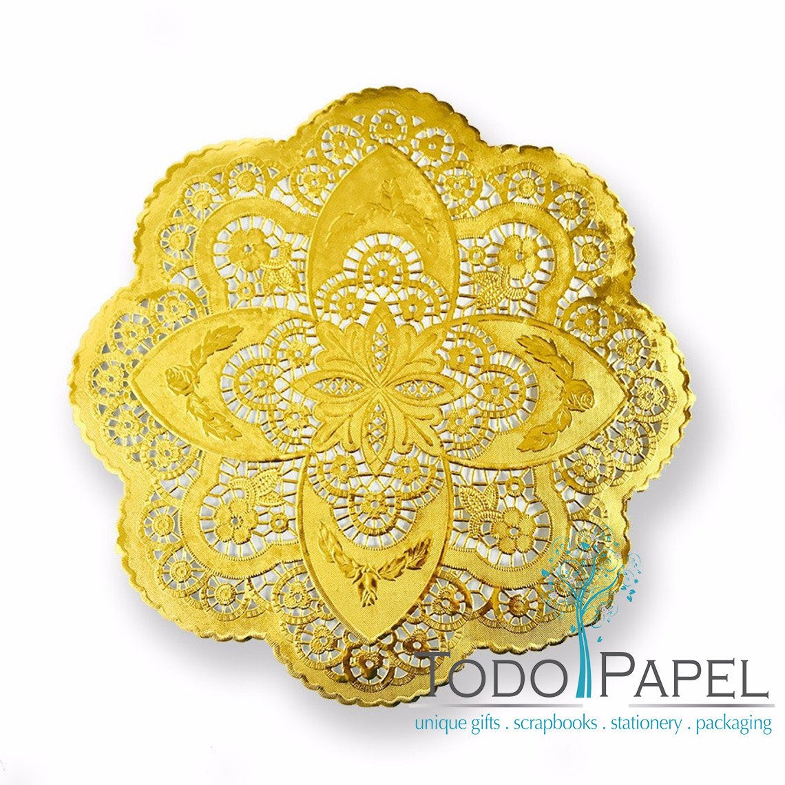 50 pack 12 inch; GOLD Metallic Foil Unique Style Doilies. Beautiful Scalloped edge design - Perfect Charger Placemats for Wedding Reception table decor