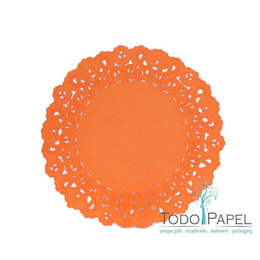 50 pack 12 inch Normandy Style Vibrant Tangerine Orange Paper Lace Doilies - Great as Table Décor Plate Chargers, Placemats, and Centerpieces for Wedding Receptions, Party Events & Birthday Celebrations.