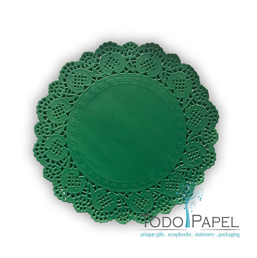 100 pack - 10 inch Emerald Green Lace Paper Doily- Great for Wedding Charger Placemats and Party Event Table Decor. Use for Catering and Crafts.