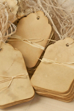 A Set of 50 ct Real COFFEE Stained Rustic, Vintage Style TAGS | Size: 1.69' Width x 2.75' Height - Perfect Old Charm Tags