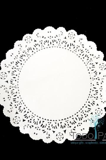 100 CT 12 inch Normandy Style White Paper Lace Doilies - Great as Wedding Chargers, Placemats, Centerpieces, Party Event & Birthday Celebration Table Decor