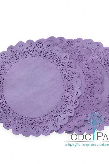 50 Pack of 12 inch PLUM Purple Paper Lace Doilies | Individually Hand Dyed | Perfect Wedding and Party Table Decor as Chargers, Placemat, Centerpieces