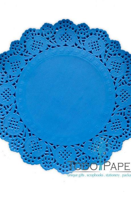 ARUBA Blue 100 pack - 10 inch Paper Lace Doilies | Blue Wedding Receptions, and Party Event Table decor | Charger Plates, Placemats, Centerpieces