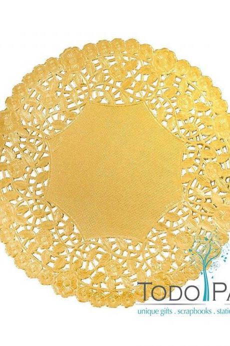 100ct - 12 inch High Quality GOLD Metallic Foil Paper Doilies - Perfect as Plate Chargers, Placemats, Centerpieces at Weddings and Party Events