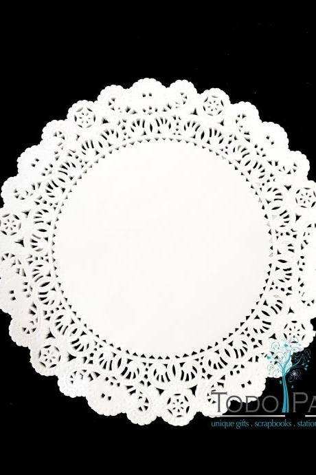 100 pack 12 inch Normandy Style Moonlight Yellow Paper Lace Doilies - Great as Table Décor Plate Chargers, Placemats, and Centerpieces for Wedding Receptions, Party Events & Birthday Celebrations.