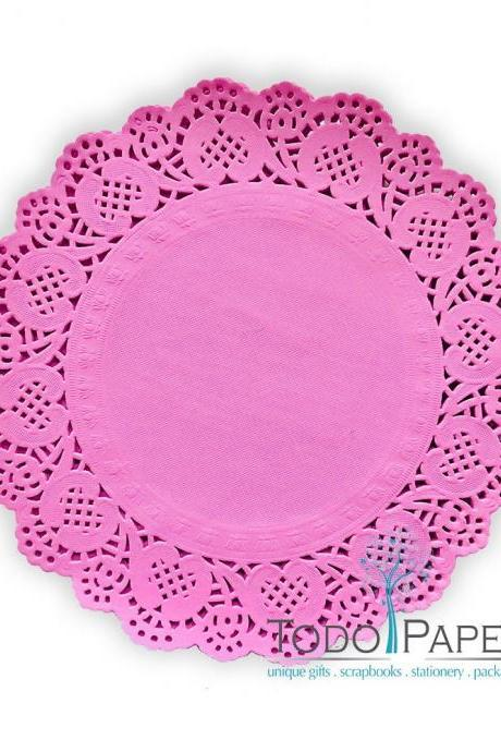 100 pack - 10' BUBBLE GUM PINK Paper Doilies | The Perfect size, shape & color for Party Table Events and Wedding Receptions - Pretty in PInk!