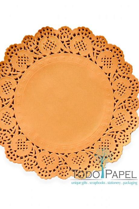100 pack - 10' Rustic MEDITERRANEAN ORANGE Paper Doilies | Wedding Reception Chargers | Birthday Party Table decor and DIY Crafting Projects