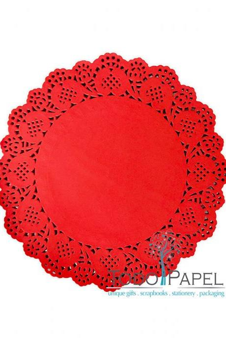 100 pack - 10' Red Lace Paper Doily- Great Wedding Reception Table Deocr - Perfect as Red Chargers, Centerpieces, placemats and Invitations