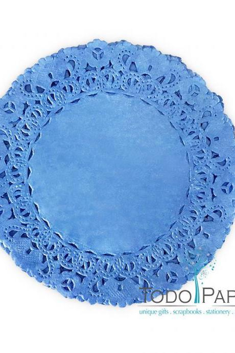 50 pack 12 inch Normandy Style ROYAL BLUE Paper Lace Doilies - Great as Table Décor Plate Chargers, Placemats, and Centerpieces for Wedding Receptions, Party Events & Birthday Celebrations