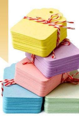 100 Pastel Color Mini Hanging Tags - 1.25' x 1.75' | Choose from 5 Great Pastel colors: Pink, Blue, Mint, Lilac, Yellow | Wedding and Party favor tags, Gifts, labelling