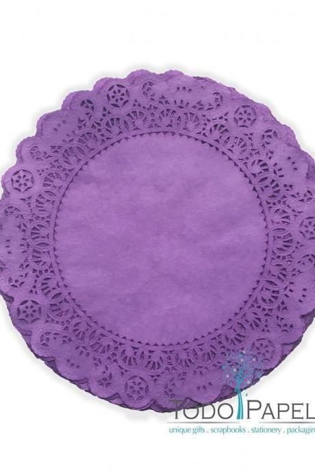 50 pack 12 inch Normandy Style Vibrant PURPLE Paper Lace Doilies - Great as Table Décor Plate Chargers, Placemats, and Centerpieces for Wedding Receptions, Party Events & Birthday Celebrations.