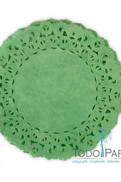 50 pack - 12 inch Normandy Style KELLY GREEN Paper Lace Doilies - Great as Table Décor Plate Chargers, Placemats, and Centerpieces for Wedding Receptions, Party Events & Birthday Celebrations.