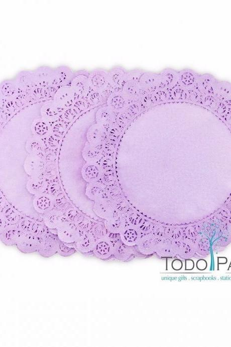 50 pack of 12 inch Normandy Style LILAC Paper Lace Doilies - Great as Table Décor Plate Chargers, Placemats, and Centerpieces for Wedding Receptions, Party Events & Birthday Celebrations.